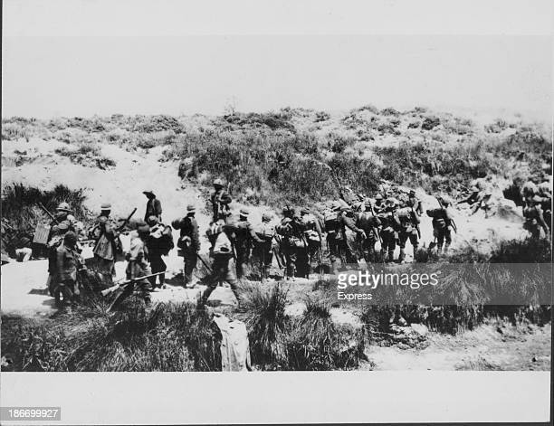 Allied troops at the Battle of Dardenelles during the Gallipoli in World War One circa 19141918