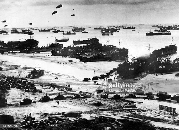Allied troops landing to Normandy at the beach codenamed 'Omaha Beach' ViervillesurMer 6th June 1944