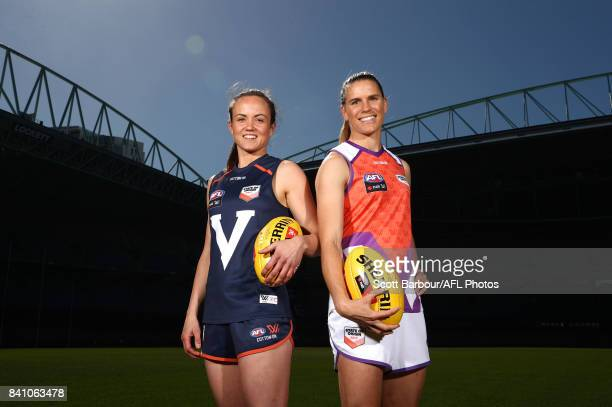 Allies' captain Chelsea Randall and Victoria's captain Daisy Pearce pose during the NAB AFL Women's State of Origin Captains and Coaches press...