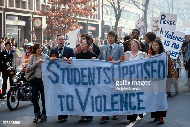 Allies of the Shah of Iran, mostly students, march near the White House in support of the Shah of Iran who was being welcomed that day at the White...
