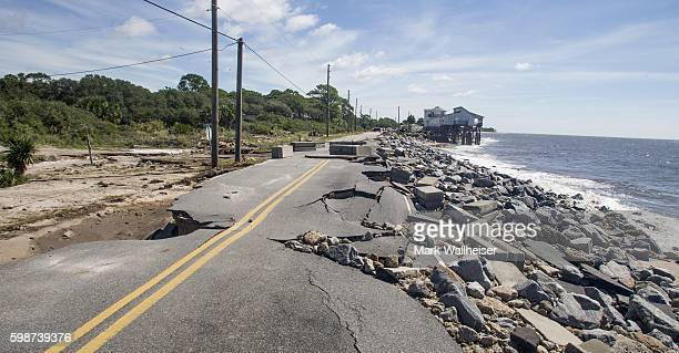 Alligator Point road collapsed during the storm surge from Hurricane Hermine at Alligator Point Florida on September 2 2016 Hermine made landfall as...