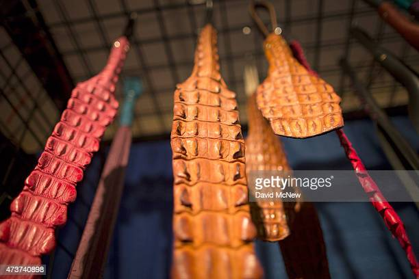 Alligator skin whipping devices are displayed at the domination convention DomCon LA on May 16 2015 in Los Angeles California The annual convention...
