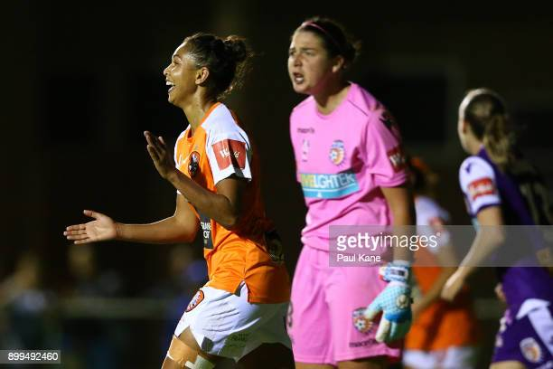 Allira Toby of the Roar celebrates a goal during the round nine WLeague match between the Perth Glory and Brisbane Roar at Dorrien Gardens on...