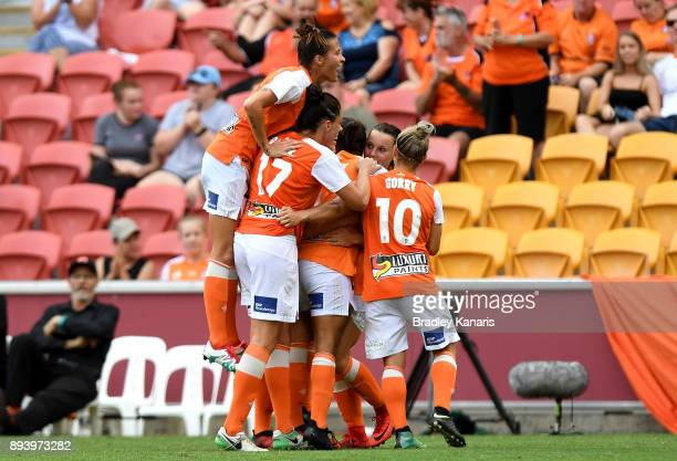 Allira Toby of the Roar is congratulated by team mates after scoring a goal during the round eight WLeague match between the Brisbane Roar and...