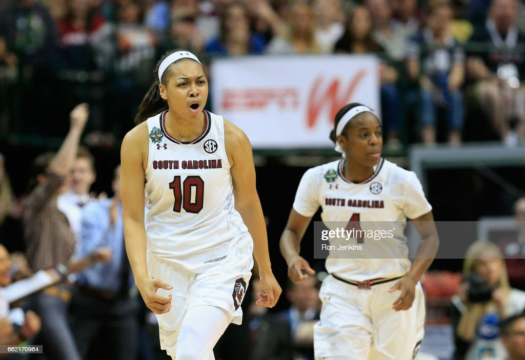 Allisha Gray #10 of the South Carolina Gamecocks celebrates a basket alongside teammate Doniyah Cliney #4 in the second half against Stanford Cardinal during the semifinal round of the 2017 NCAA Women's Final Four at American Airlines Center on March 31, 2017 in Dallas, Texas.South Carolina Gamecocks won 62-53.