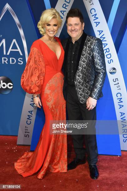 Allison Alderson and Jay DeMarcus of Rascal Flatts attend the 51st annual CMA Awards at the Bridgestone Arena on November 8 2017 in Nashville...