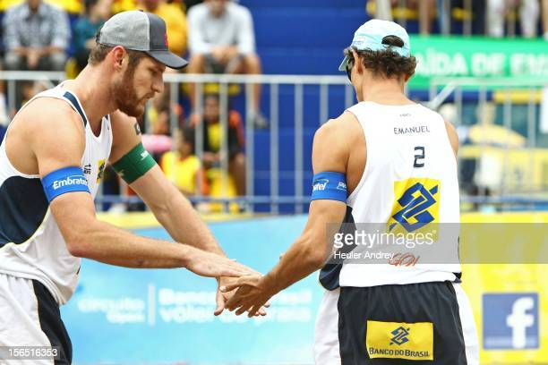 Allison and Emanuel celebrate during a match for the 5th stage of the season 2012/2013 of Banco do Brasil Beach Volleyball Circuit on November 16...