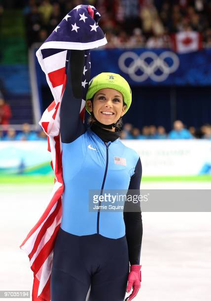 Allison Baver of the United States celebrates after her team won the Olympic Bronze medal in the Ladies' 3000m relay finals in Short Track Speed...