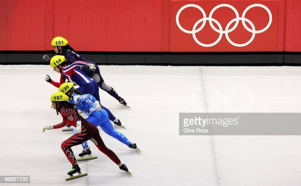 Allison Baver of USA Katerina Novotna of Czech Republic Marta Capurso of Italy and Kalyna Roberge of Canada begin their Final B race in the women's...