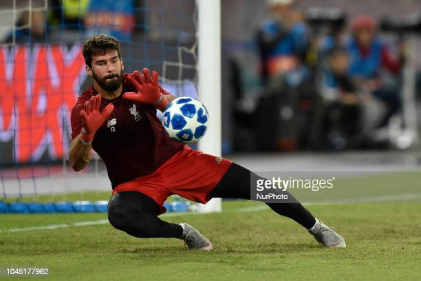 Allison Becker of Liverpool during the UEFA Champions League group C match between SSC Napoli and Liverpool FC at Stadio San Paolo Naples Italy on 3...