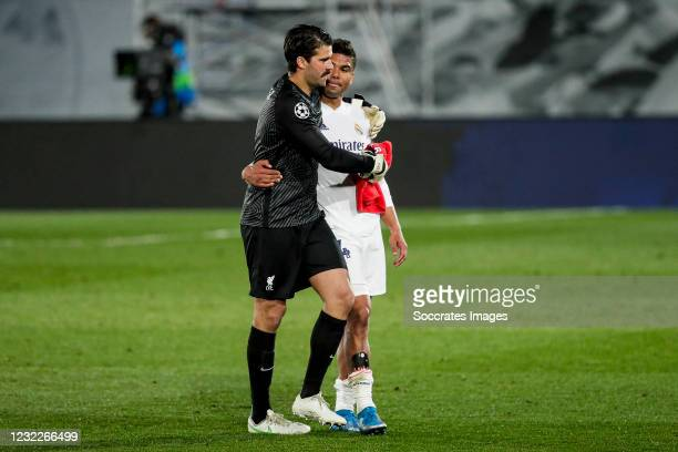 Allison Becker of Liverpool FC, Casemiro of Real Madrid during the UEFA Champions League match between Real Madrid v Liverpool at the Estadio Alfredo...