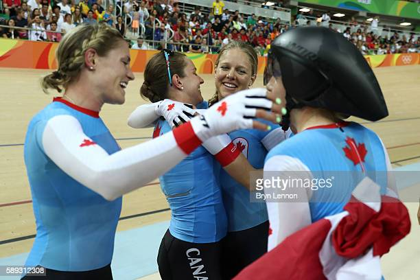 Allison Beveridge Jasmin Glaesser Kirsti Lay and Georgia Simmerling of Canada celebrate winning the bronze medal after the Women's Team Pursuit Final...
