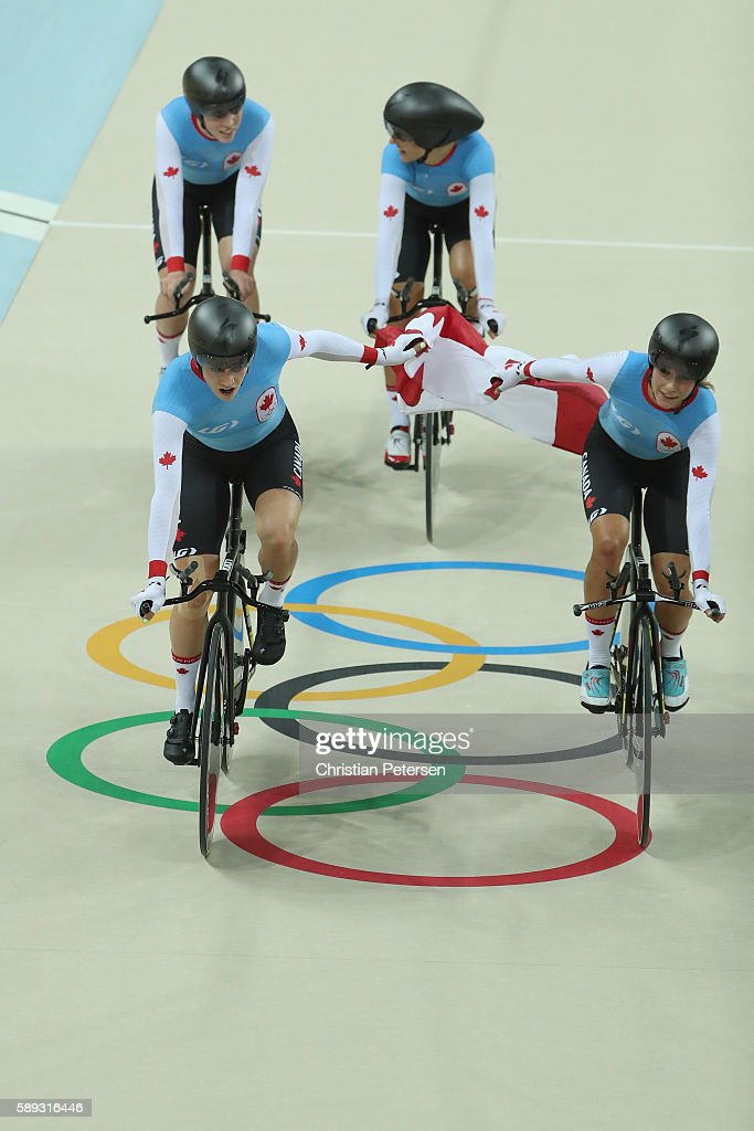 Allison Beveridge, Jasmin Glaesser, Kirsti Lay and Georgia Simmerling of Canada celebrate winning the bronze medal after the Women's Team Pursuit Final for the Bronze medal on Day 8 of the Rio 2016 Olympic Games at the Rio Olympic Velodrome on August 13, 2016 in Rio de Janeiro, Brazil.