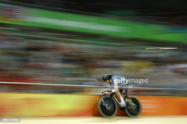 Allison Beveridge of Canada competes during the Women's Omnium Points race on Day 11 of the Rio 2016 Olympic Games at the Rio Olympic Velodrome on...