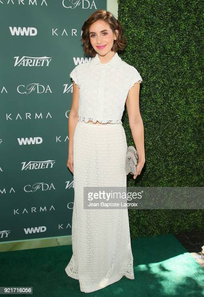 Allison Brie arrives to the Council of Fashion Designers of America luncheon held at Chateau Marmont on February 20 2018 in Los Angeles California