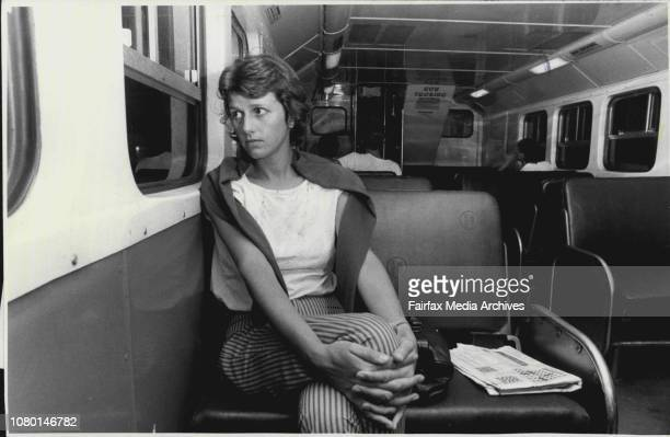 Allison Cartmill in the train to Blacktown alone in an almost empty carriage for a story on woman travelling aloneThe Reenactment of Mrs Lorraine...