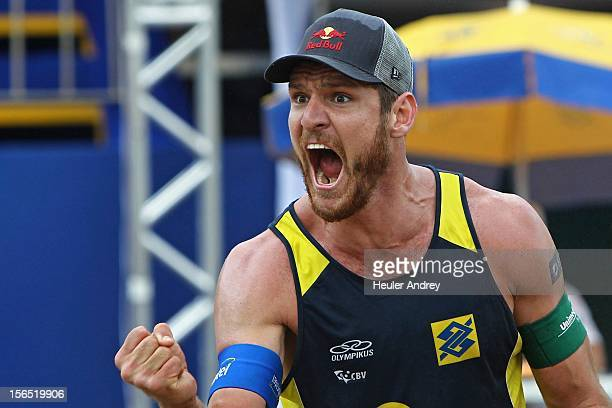 Allison celebrates during a match for the 5th stage of the season 2012/2013 of Banco do Brasil Beach Volleyball Circuit on November 16 2012 in...