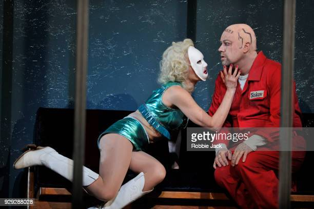 Allison Cook as Prostitute and Johan Reuter as Siskov in the Royal Opera's production of Leos Janacek's From the House of the Dead directed by...