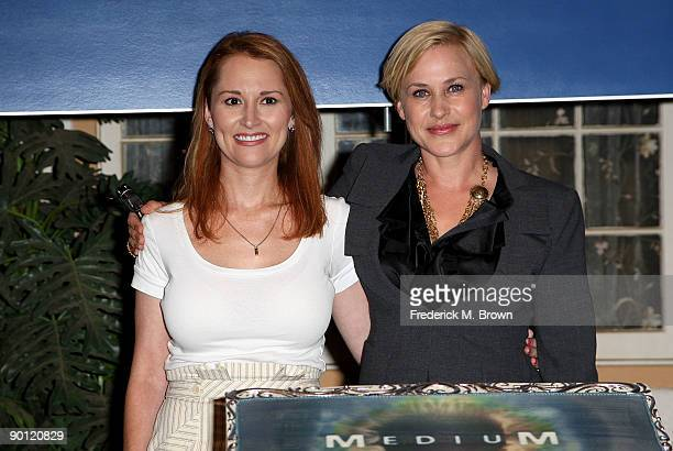 Allison Dubois and actress Patricia Arquette attend the 100th episode cake cutting celebration at Raleigh Studios on August 27 2009 in Manhattan...