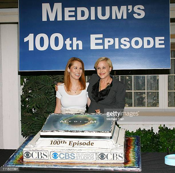 Allison Dubois and Patricia Arquette attend the 100th episode cake cutting celebration for CBS's Medium held on August 27 2009 in Manhattan Beach...