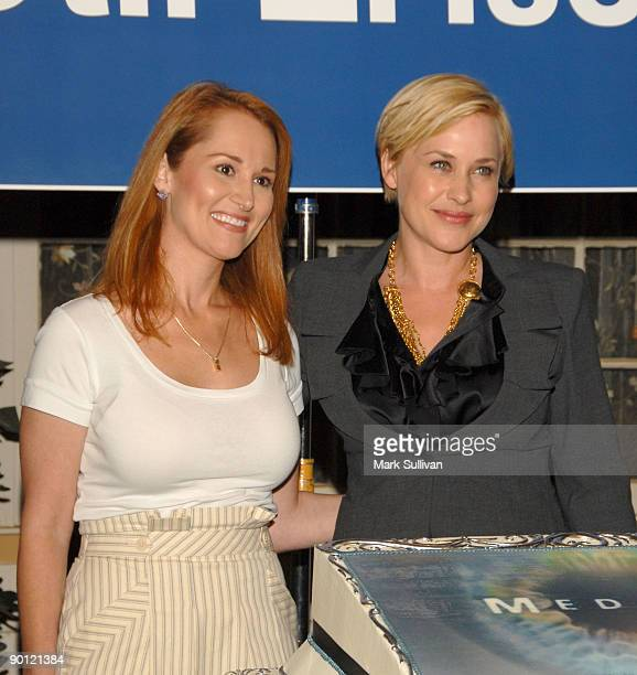 Allison Dubois and Patricia Arquette attend the cake cutting celebration for the 100th episode of CBS's ''Medium'' on August 27 2009 in Manhattan...