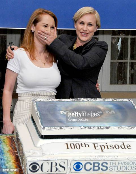 Allison DuBois and Patricia Arquette celebrate the 100th Episode of Medium at Raleigh Studios in Manhattan Beach California on August 27 2009