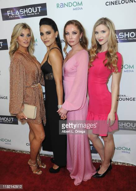 Allison Dunbar Maya Stojan Malea Rose and Aria Sirvaittis arrive for the Premiere Of Flashout held at Arena Cinelounge on March 22 2019 in Hollywood...