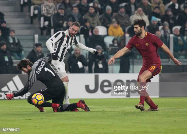Allison during Serie A match between Juventus v Roma in Turin on December 23 2017