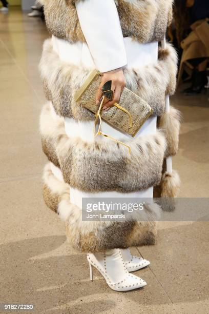Allison Elizabeth Brown fashion and bag detail attends Leanne Marshall show during February 2018 New York Fashion Week The Shows at Gallery II at...