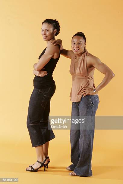 Allison Feaster and Dawn Staley of the Charlotte Sting pose for a portrait during the Charlotte Sting Media Day on May 24 2005 in Charlotte North...