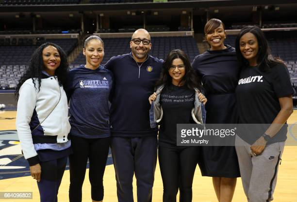 Allison Feaster David Fizdale of the Memphis Grizzlies Tina Thompson and Swin Cash participates during the Memphis Grizzlies first annual Girl's...