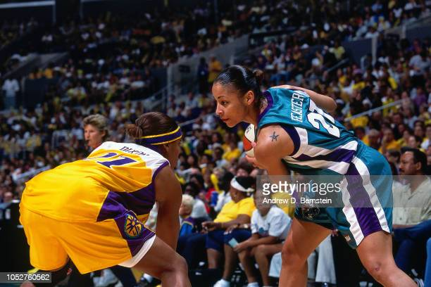 Allison Feaster of the Charlotte Sting handles the ball during Game Two of the 2001 WNBA Finals on September 1 2001 at the Staples Center in Los...