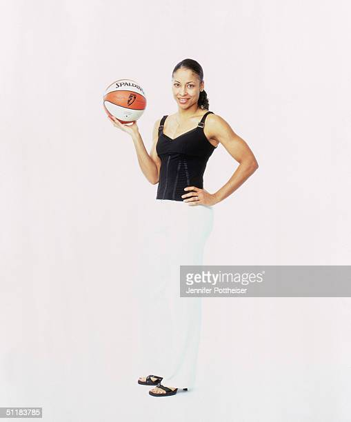 Allison Feaster of the Charlotte Sting poses for a WNBA Portrait at Westin Hotel on August 4 2004 in New York New York NOTE TO USER User expressly...