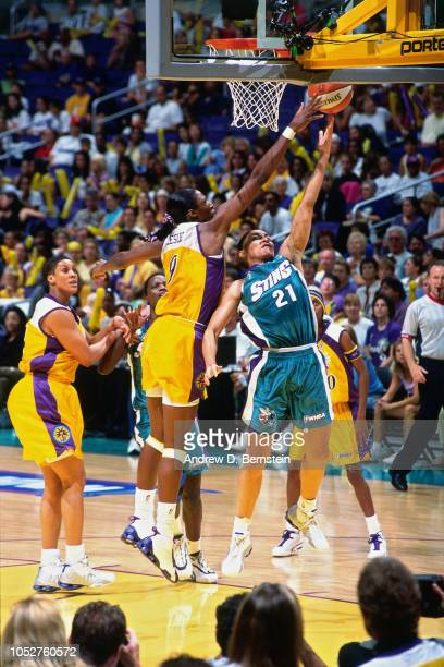 Allison Feaster of the Charlotte Sting shoots during Game Two of the 2001 WNBA Finals on September 1 2001 at the Staples Center in Los Angeles...