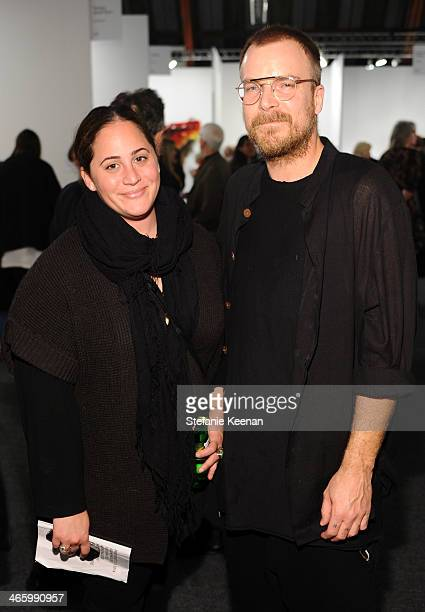 Allison Gorsuch and Chad Muska attend the Art Los Angeles Contemporary 2014 opening night at Barker Hangar on January 30, 2014 in Santa Monica,...
