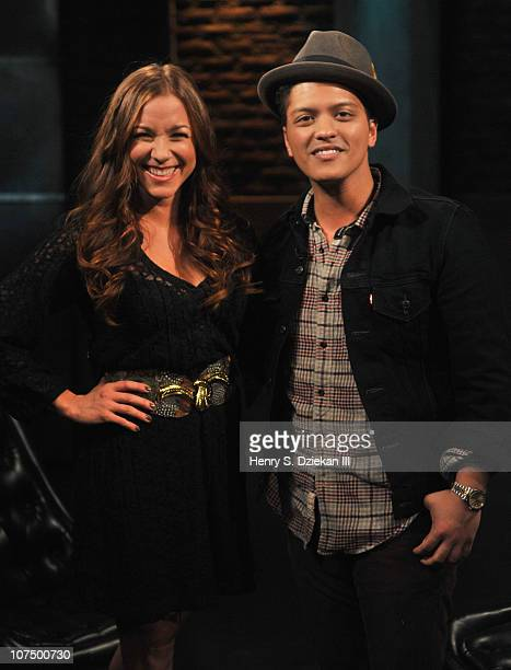 Allison Hagendorf and Bruno Mars tape a Fuse episode for Z100's Jingle Ball at fuse Studios on December 9 2010 in New York City