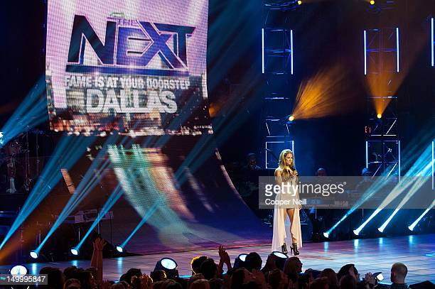 Allison Hagendorf interacts with the crowd during a live taping of CW's 'The Next' on August 7 2012 in Dallas Texas