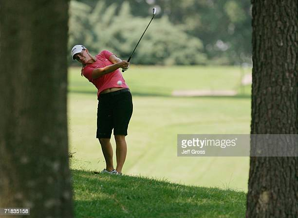 Allison Hanna hits her second shot on the eighth hole during the second round of the John Q Hammons Hotel Classic on September 9 2006 at the Cedar...