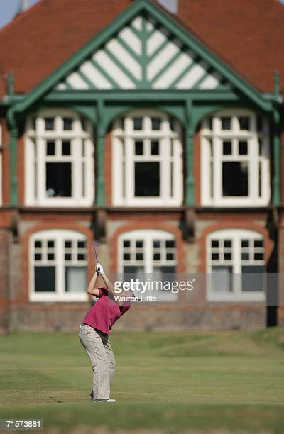 Allison Hanna of the USA plays her second shot into the 18th green during the first round of the Weetabix Womens British Open at the Royal Lytham St...