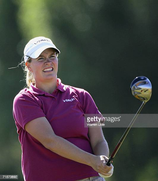 Allison Hanna of the USA tees off on the 18th hole during the first round of the Weetabix Womens British Open at the Royal Lytham St Annes Golf Club...