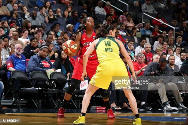 Allison Hightower of the Washington Mystics handles the ball against Sue Bird of the Seattle Storm during a WNBA game on September 1 2017 at the...