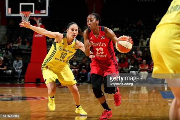Allison Hightower of the Washington Mystics handles the ball during the game against the Seattle Storm during a WNBA game on September 1 2017 at the...