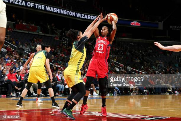Allison Hightower of the Washington Mystics shoots the ball during the game against the Seattle Storm during a WNBA game on September 1 2017 at the...