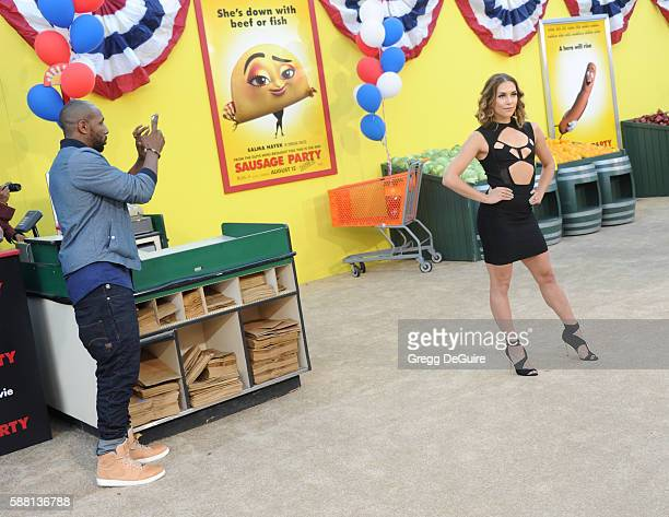 """Allison Holker and husband Stephen Laurel """"tWitch"""" Boss arrive at the premiere of Sony's """"Sausage Party"""" at Regency Village Theatre on August 9, 2016..."""