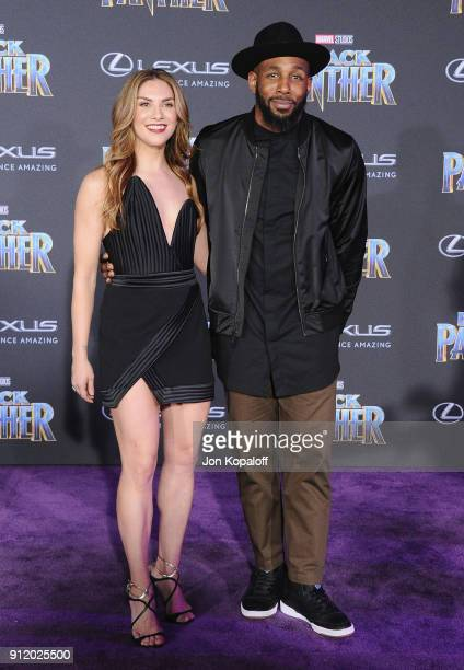 Allison Holker and Stephen 'Twitch' Boss attend the Los Angeles Premiere 'Black Panther' at Dolby Theatre on January 29 2018 in Hollywood California