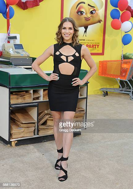 """Allison Holker arrives at the premiere of Sony's """"Sausage Party"""" at Regency Village Theatre on August 9, 2016 in Westwood, California."""