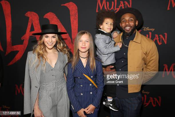 Allison Holker Weslie Fowler Maddox Laurel Boss and Stephen Boss attend the World Premiere of Disney's 'MULAN' at the Dolby Theatre on March 09 2020...