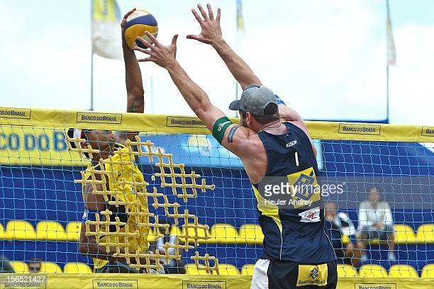 Allison in action during a match for the 5th stage of the season 2012/2013 of Banco do Brasil Beach Volleyball Circuit on November 16 2012 in...