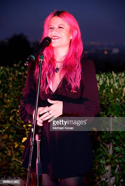Allison Iraheta of Halo Circus performs at the Los Angeles launch of Moet Ice Imperial Rose at the Riviera White House on August 11 2016 in Pacific...