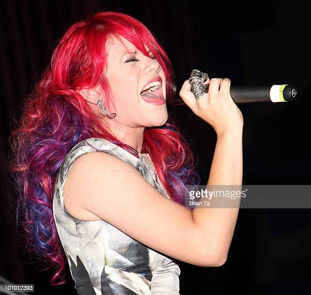 Allison Iraheta performs at 1027 KIIS FM hosts 7th annual 'American Idol' finale viewing party at Regal 14 at LA Live downtown on May 26 2010 in Los...